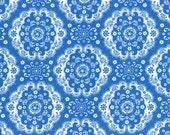 Lecien Flower Sugar, Fall 2015, Dark Blue with White Medallions, Half Yard, LEC31272-77