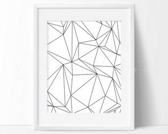 Black & White Geometric Art Print, Minimalist Monochrome Nursery Art, Contemporary Line Art, Modern Home Decor, Abstract Wall Art Not Framed