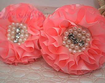 Set of 2 - Pink Beaded Fabric Flowers - Pink Fabric Flower - Pink Chiffon Beaded Flower - Ruffle Parisian Chiffon Flowers