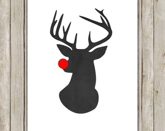 8x10 Christmas Printable Art, Rudolph The Red Nosed Reindeer, Antlers Print, Christmas Wall Art, Chalkboard Holiday Decor, Instant Download