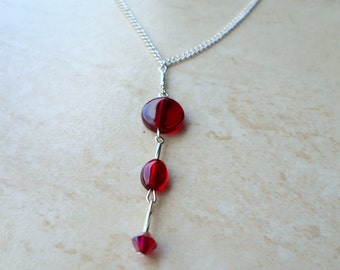 Pendant necklace,  cherry red necklace, scarlet necklace, red pendant necklace, silver chain, red necklace, delicate necklace