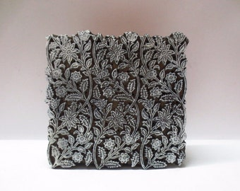 Vintage Indian wooden hand carved textile printing fabric block / stamp fine detailed carving floral design pattern Large