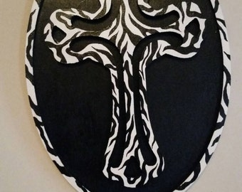 Zebra print wooden cross wall decor