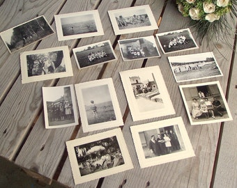 Vintage Photographs - Set of 14 - Black and White - People Pictures - French People Pictures - Black & White Pics - Art Craft Supplies