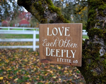 """Love each other deeply, wooden sign, enjoyology, kindness, 9""""x 8"""""""