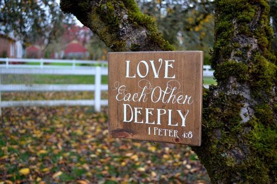 Love Each Other Deeply: Love Each Other Deeply Wooden Sign Enjoyology Kindness