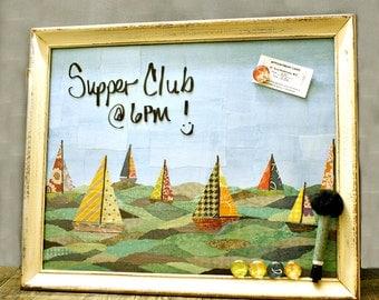 FREE SHIPPING, Magnetic Dry Erase Board, Kitchen Magnet Board, Message Board, Nautical Decor, Sailboat Decor, Ocean, Wall Organizer