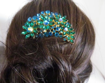 Emerald and blue hair comb, wedding hair accessories, bridesmaid hair comb, sapphire hair comb, hair comb