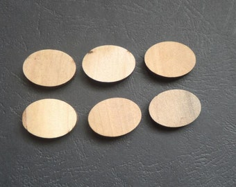 30 Pcs 25X18mm Flat Oval Natural Wood Bead NO varnish No hole  (NW032)