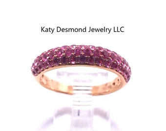 Pink Sapphire in  18K Pink Gold Ring/ Wedding Ring/Engagement Ring/anniversary ring/Graduation ring/Birthday ring/promise ring/#021422