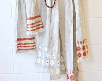Linen Scarf - hand painted - Made in Australia