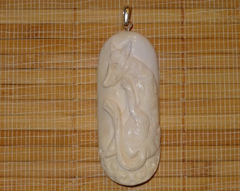 SALE on this Pendant ~ 3.00 Off / Carved Buffalo Bone Weasel with 925 Silver Bail