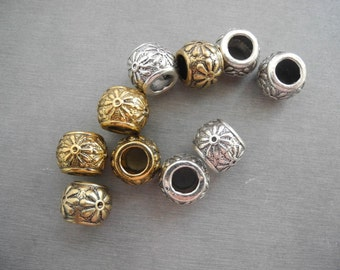 10 PC golden silver mixed color dreadlock metal beads braid cuff 8mm Hole D05