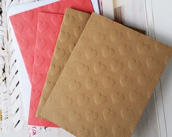 Embossed Cards, Blank Notecards, Valentines Day Card, Embossed Thank You Cards, Kraft Paper Cards, Heart Card, Blank Cards