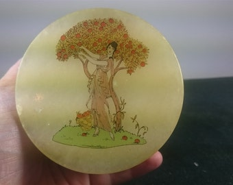 Vintage Art Deco Lady Marble Jewelry or Trinket Box