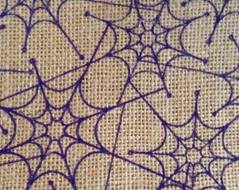 SALE - One Yard of Fabric Material -  Halloween Spider Webs on Burlap