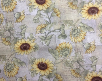 One Half Yard of Fabric Material - Sunflower Collage