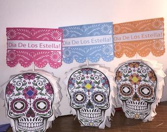Sugar Skull Pinata with Custom Label Papel Picado Table Number!