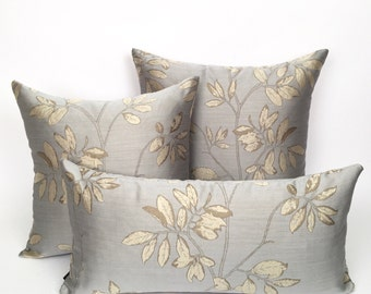 Decoratve Toss Steel Blue and Cream Colored Vine Pillow Cover,
