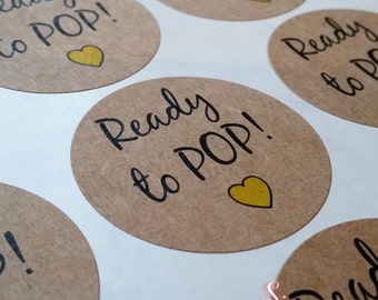 Ready to Pop! Baby Shower Favor Kraft Brown Stickers