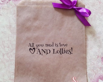 All you need is love AND Lollies! Kraft brown Paper Candy Buffet Lolly Bags x 50