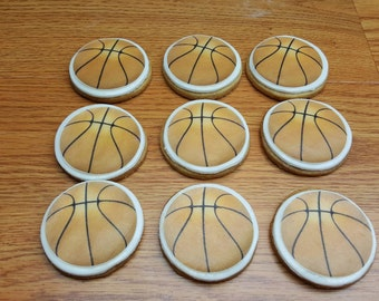 """Basketball Sugar Cookie 2""""- 12 Sugar Cookies Decorated With Marshmallow Fondant-Party Favors"""