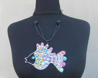 Pendant Bead Fish-Necklace,Handmade
