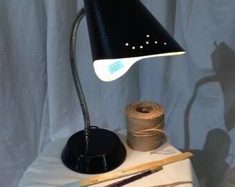 Vintage Black Metal Desk Lamp with Flexible Neck
