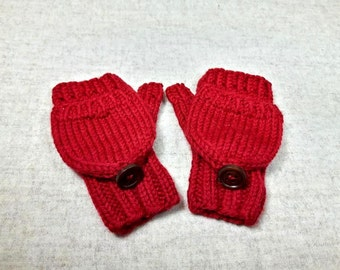 Organic Convertible Fingerless Gloves for Babies, red, Merino Wool, Mittens with Flap, Gift for Kids