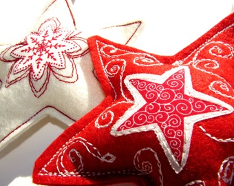 Felt Christmas decorations, Felt stars, Christmas decorations, Christmas ornaments