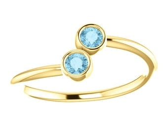 25% OFF Aquamarine 14k Yellow Gold, Stacking Ring, Made to Order, Dual Stone, March Birthstone