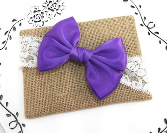 Purple Baby Headband, 12 Colors Available, Toddler Headband, Newborn Gift, Baby Lace Headband, Satin Bow Headband, Baby Shower Gift Under 10