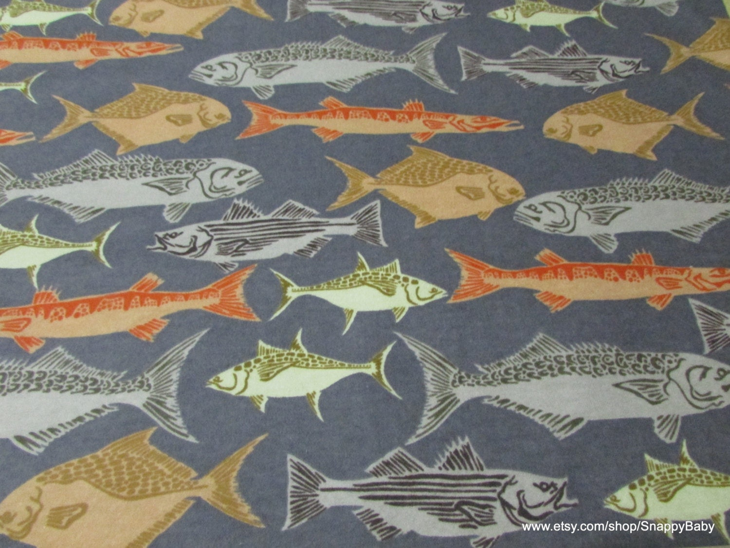 Reserved listing flannel fabric school of fish 1 8 yards for Fish fabric by the yard