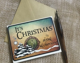 Christmas Card, Hobbit, LOTR, Tolkien, Lord of the Rings, Geeky Greeting Card, Blank Inside