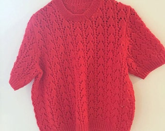 Hand knitted red top