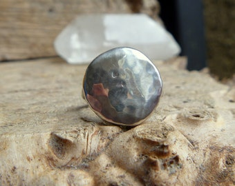 Moon landing // hammered recycled silver ring - made to order
