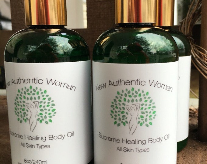 Supreme Healing Body Oil, 8oz. Blend of Raw African Shea Butter, Organic Coconut Oil, Pure Castor Oil, and Pure Sweet Almond Oil.