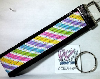 Happy Stripes Ribbon Key Fob, Wristlet, Key Chain, Key Ring, Hands Free