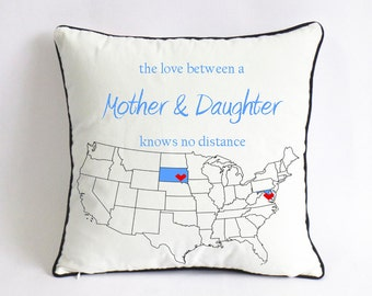 long distance mom daughter cushion cover-mom birthday gift-mothers day gift for daughter-the love between mother daughter knows no distance