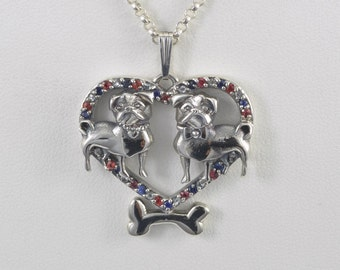 Sterling Silver Pug Necklace with Sapphires and Topaz fr Donna Pizarro's Animal Whimsey Collection of Fine Pug Jewelry