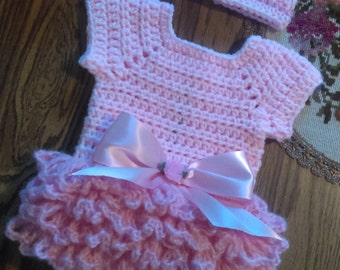 Pink crochet tutu set with crown