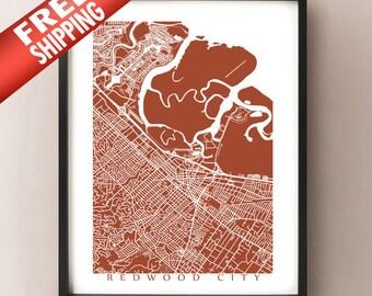 Redwood City Map Print - Bay Area California Art Poster
