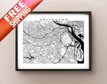 Arlington City Map - Virginia Art Poster Print - Black and White