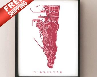 Gibraltar Map Print - UK Poster