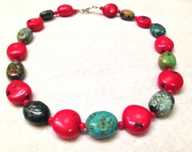 Sterling Silver Red Coral and Turquoise Chunk Bead Necklace- Gorgeous