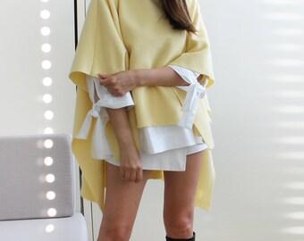 Women's Poncho, yellow wool poncho,  yellow cape, oversized poncho, loose poncho