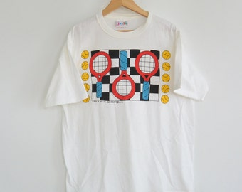Vintage Tennis Shirt Bright Graphic Tennis Rackets by Juli Size Large New without Tags 1980's