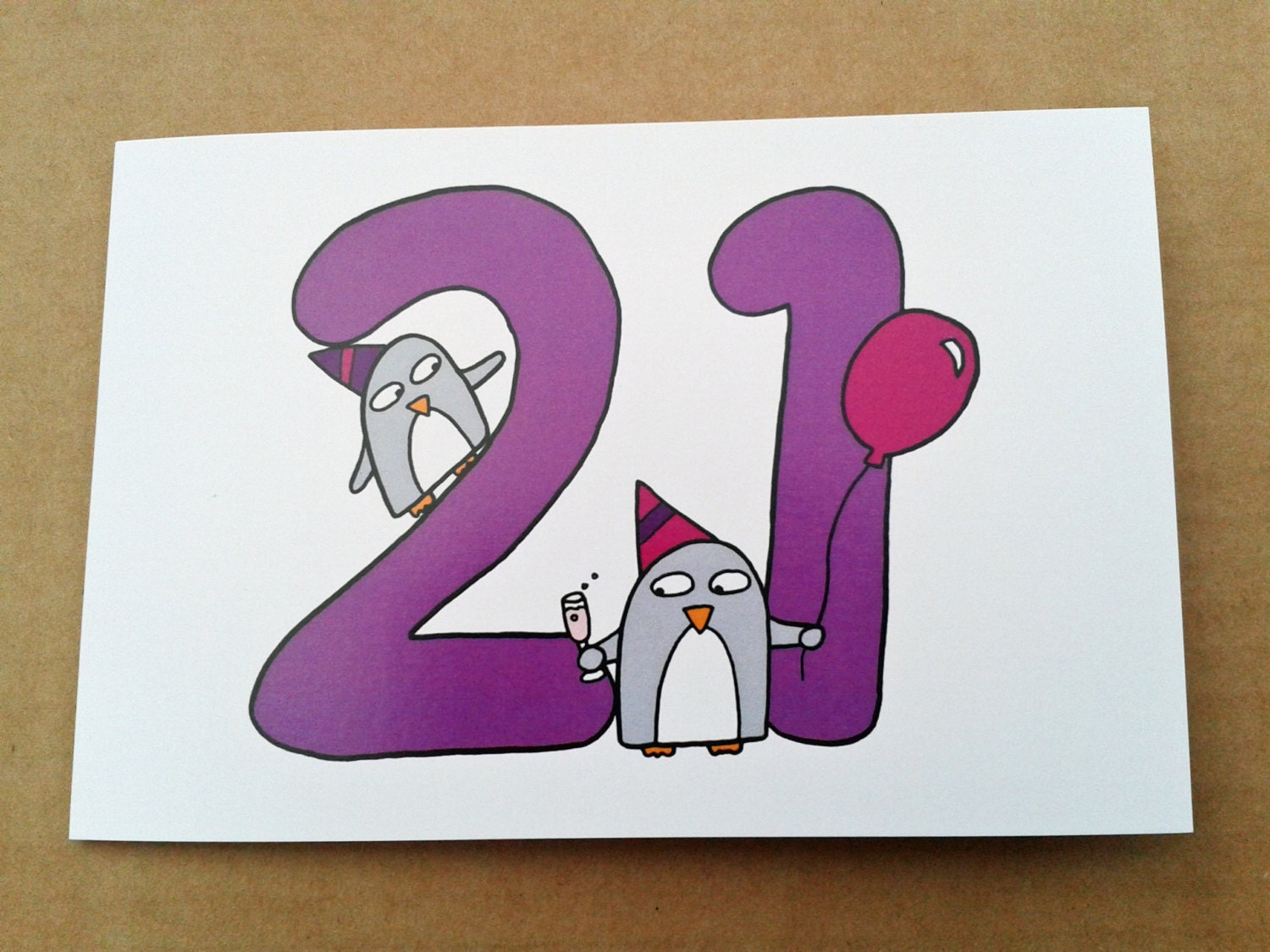 21st Birthday card Funny Cute Penguins by penguinparadeshop