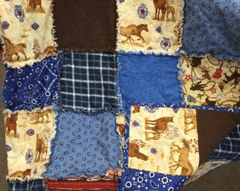 Cowboy Western Rodeo Horse Flannel Rag Quilt Large for the Cabin or Ranch