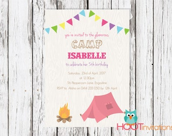 Camping Party Invitation PRINTABLE - Outdoors Birthday - girl guides party - glamping party